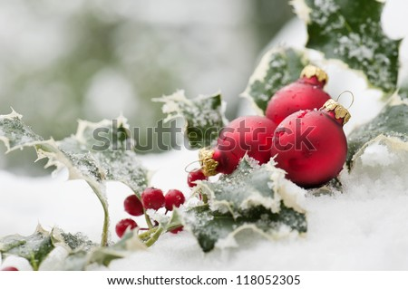 red christmas balls and holly on snow - stock photo