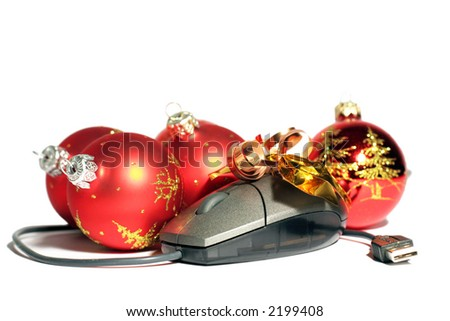 Red christmas balls end computer mouse composition - stock photo