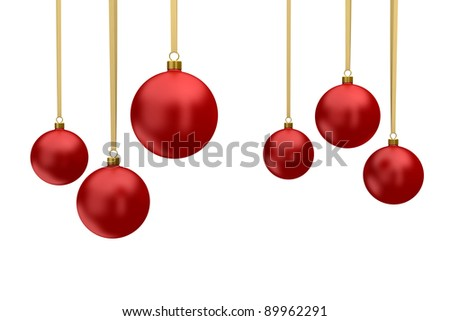 red Christmas balls hanging isolated on white background - stock photo