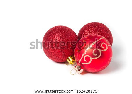 red christmas balls - isolated - stock photo