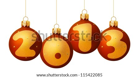 Red Christmas Balls 2013 isolated on white background - stock photo