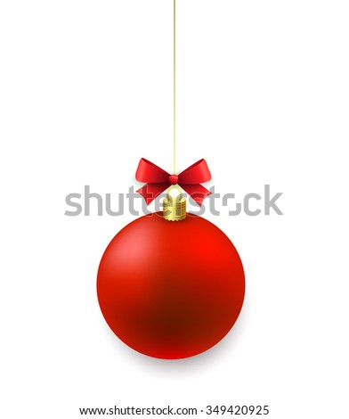 Red Christmas balls isolated on white background. Merry Christmas decoration. Raster copy