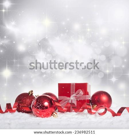 Red christmas balls on bokeh background - stock photo