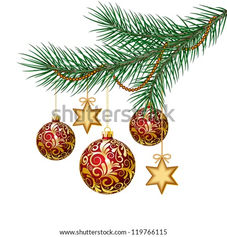 Red christmas balls on green spruce branch. - stock photo