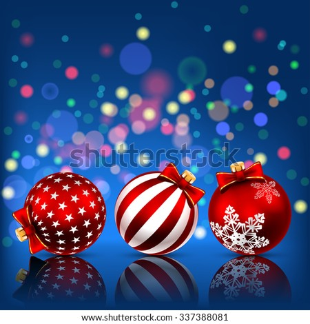 Red Christmas Balls on Holiday Background. Illustration  - stock photo