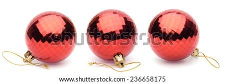 red christmas balls on white background - stock photo
