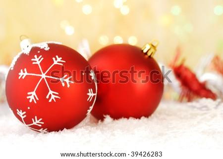 Red christmas balls with christmas setting - stock photo