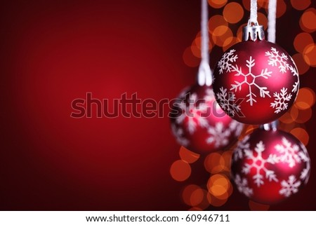 Red christmas balls with copy space. - stock photo