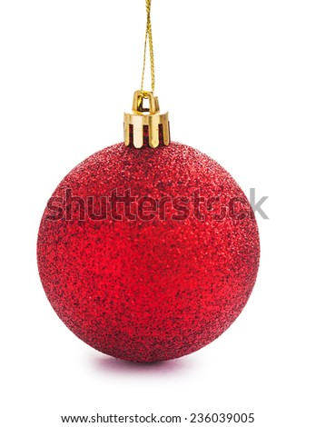 red christmas bauble isolated - stock photo