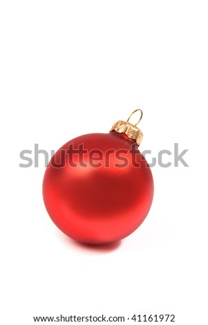Red Christmas bauble on white background - stock photo