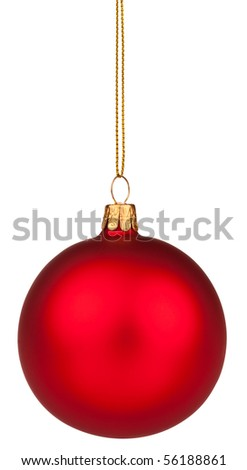 Red Christmas bauble with full clipping path - stock photo