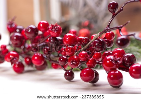 Red christmas baubles on the snow. christmas decorations  - stock photo