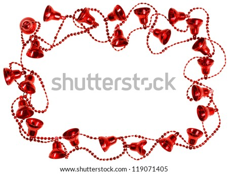 Red Christmas bell garland frame, isolated on white - stock photo