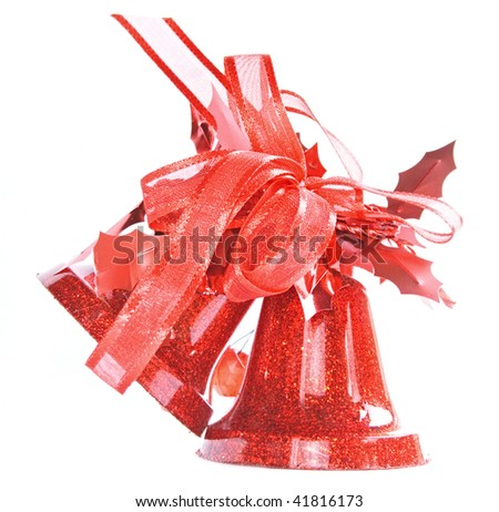 Red christmas bells isolated on white background