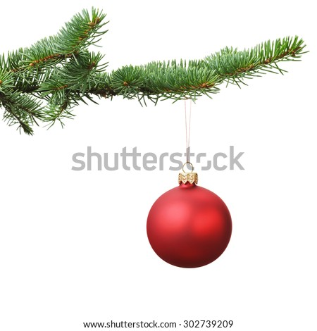 red christmas blank ball hanging on fir branch, white background - stock photo