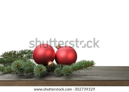 red christmas blank balls on fir branch, white background - stock photo