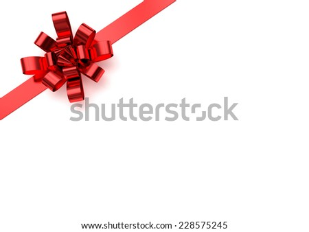Red christmas bow - stock photo