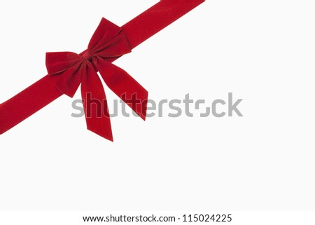 Red christmas bow, includes clipping path - stock photo