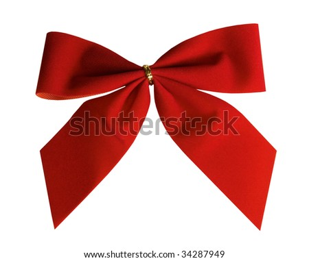 Red Christmas bow, isolated on white - stock photo