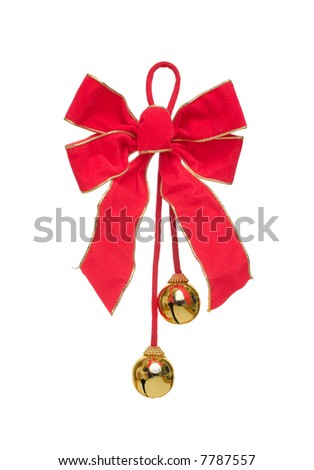 Red Christmas Bow with Bells, Isolated.