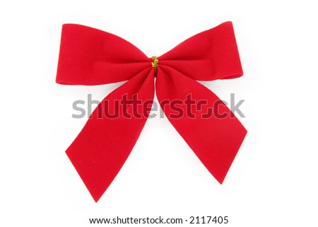 Red Christmas Bow with white  background