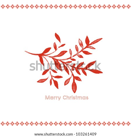 Red Christmas Branch - stock photo