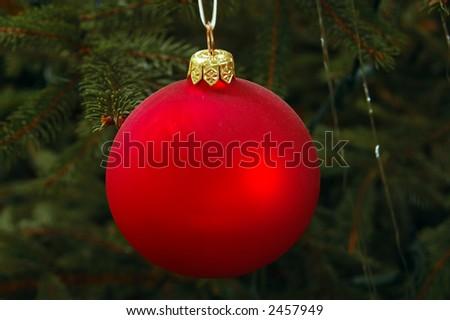 red christmas bulb - stock photo