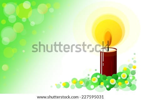 Red christmas candle circle illustration with green background - stock photo