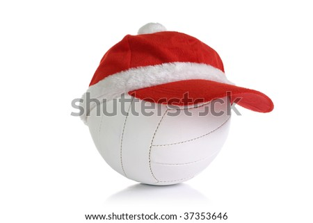 red Christmas cap on white ball isolation - stock photo