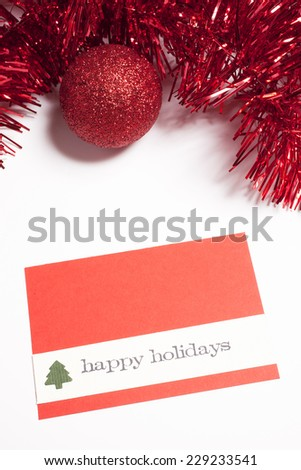 red  christmas card - stock photo