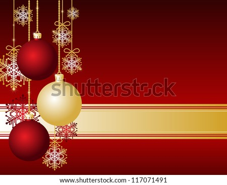 Red Christmas card with Christmas balls and snowflakes - stock photo
