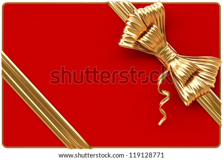 Red Christmas card with golden bow and ribbons. Isolated on white.