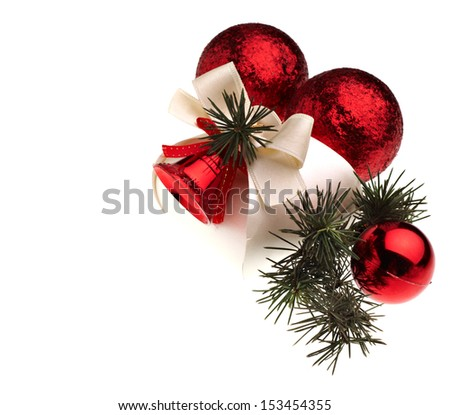 Red Christmas decoration and gift on white background - stock photo