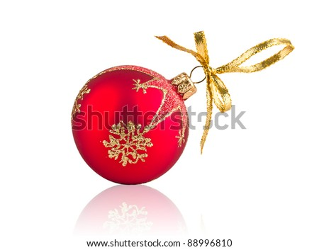Red Christmas decoration ball isolated on white background - stock photo
