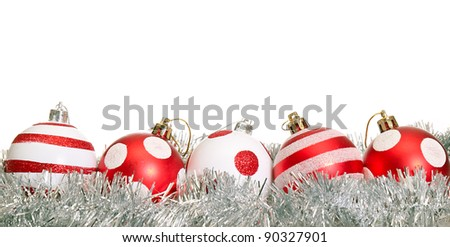 Red christmas decoration ball on white background - stock photo