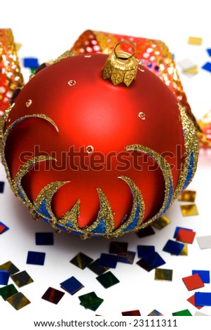 red Christmas decoration ball with ribbon