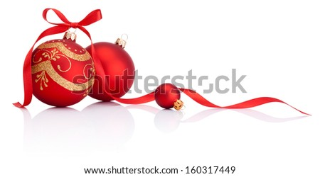 Red christmas decoration balls with ribbon bow isolated on white background - stock photo