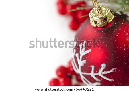 Red Christmas decoration with pine needles with copy space