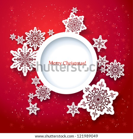 Red Christmas design with space for text - stock photo