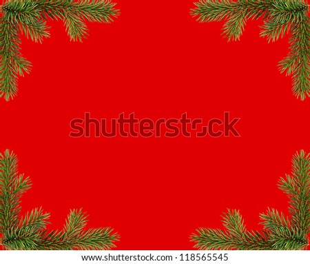 red christmas frame from fir branches - stock photo