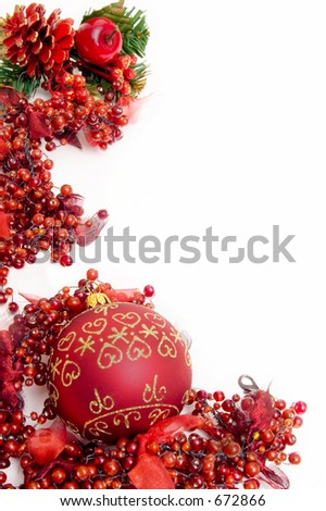 red christmas  frame of berries with filigree on ball - stock photo