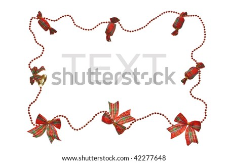 Red Christmas garland border isolated on a white background.