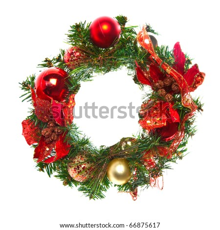 Red christmas garland with baubles and ribbons on white. - stock photo