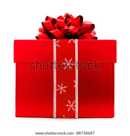 Red Christmas Gift Box with red Bow and Ribbon
