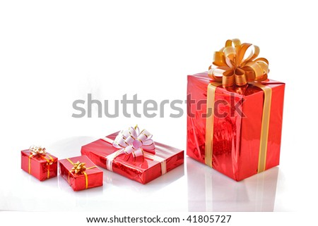 Red christmas gift boxes