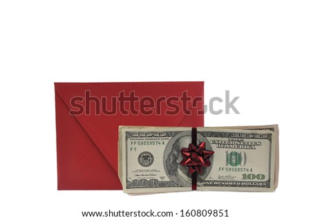 Red Christmas Gift Envelope Red Bow Hundred Dollar Bills Isolated on White background - stock photo