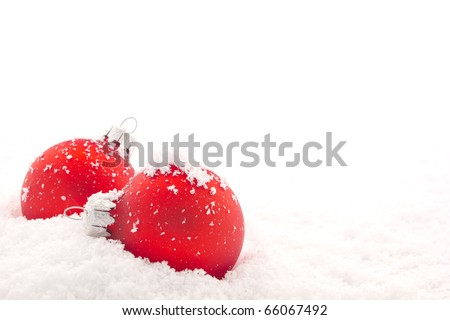 Red Christmas Glasses on snow, isolated on white background - stock photo