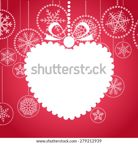 Red Christmas greeting card with white christmas toy. Raster version  - stock photo