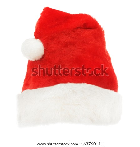 Red Christmas holiday hat on white - stock photo