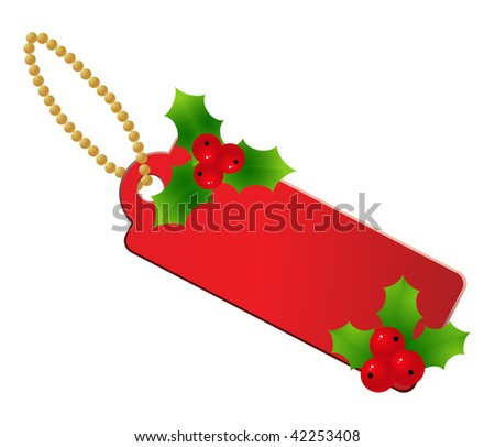 Red christmas label isolated on a white.